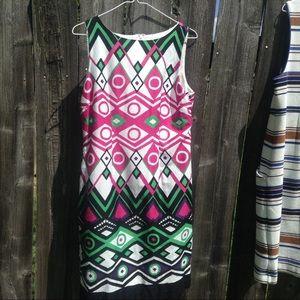Leslie Fay  green pink abstact dress.